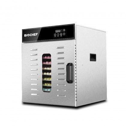 kommerzieller BioChef Dörrautomat mit 10 Einschüben – Halbprofil mit Zutaten